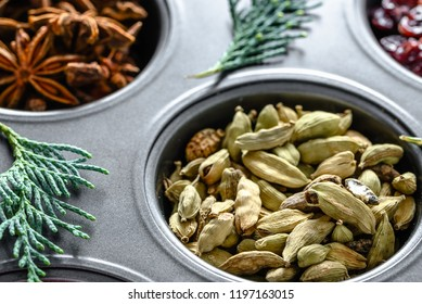 Christmas spices - dried cardamom seeds