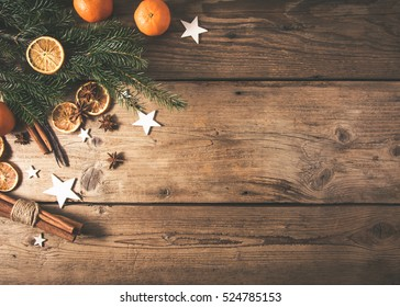christmas spices on wooden table