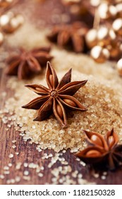 Christmas Spices. Star Anise on Vintage Table. Selective Focus. Close up.