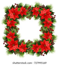 Christmas square frame with pine twigs, cones, berries and poinsettia flowers isolated on white background. Flat lay. Top view.