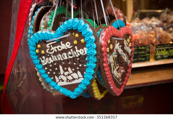 christmas stall with candy hearts with christmas wishes on it