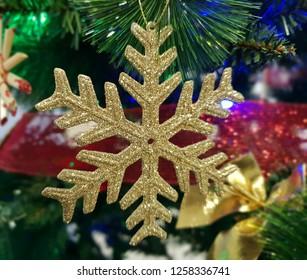 christmas star closeup holiday tree decoration