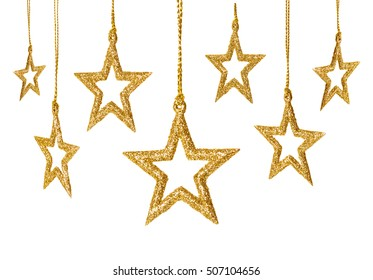 Christmas Star Hanging Decoration, New Year Sparkles Stars Set, Golden Toys Isolated over White background
