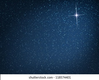 Christmas star on evening snowfall