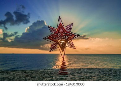 christmas star at sunset  Views around the small Caribbean island of Curacao