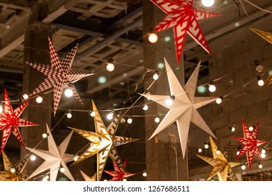 Christmas stars ceiling decoration.