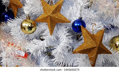 Christmas stars and decoration on white back ground.