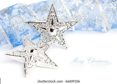 Christmas stars with festive ribbon