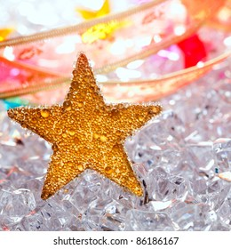 christmas stars in ice winter background