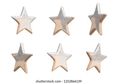 Christmas stars made of wood isolated on white background.