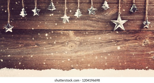 christmas stars on wooden board, christmas background with copy space