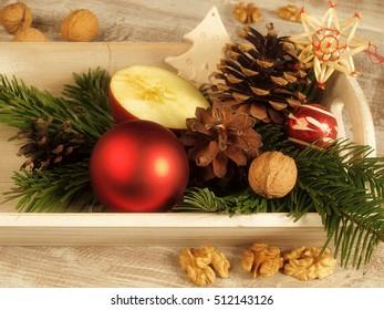 Christmas still life with apple