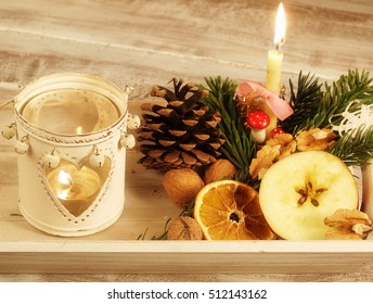 Christmas still life with candle