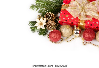 Christmas still life with free space for text, isolated on white background