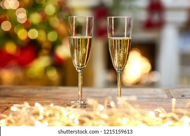 Christmas still life with with glasses of champagne - cosy winter time and happy new year.