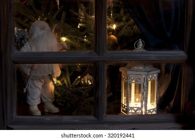 Christmas still life with window and decorations
