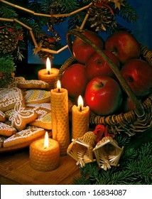 christmas still-life with candles and ginger breads