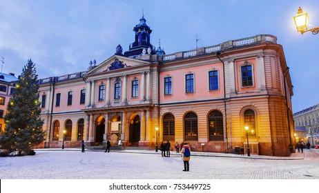 Christmas in Stockholm. Nobel Museum in Stockholm. Sweden