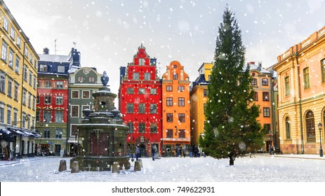 Christmas in Stockholm.Stortorget Square decorated for Christmas, Sweden.