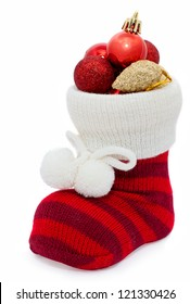 christmas stocking with decorations