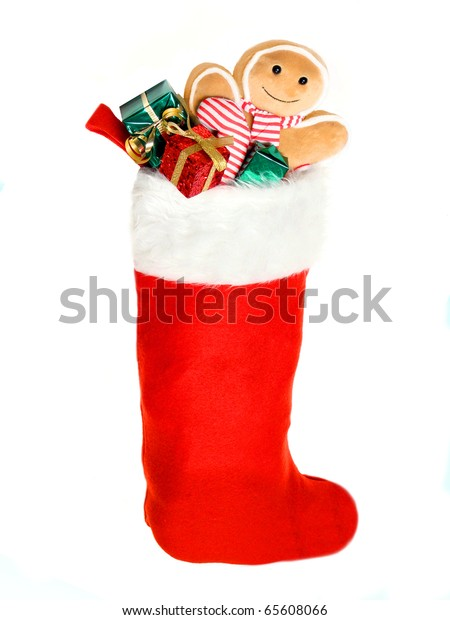 Christmas stocking filled with gifts and toys
