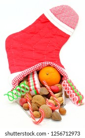 Christmas Stocking filled with Nuts and Candy