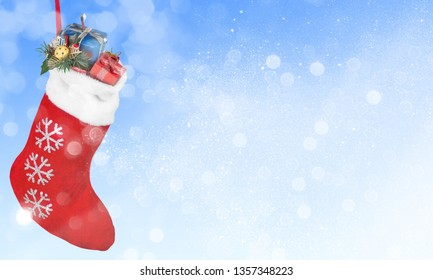 Christmas stocking with gifts hanging  on white