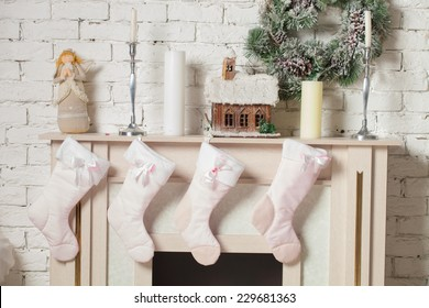 Christmas stocking hung by the chimney