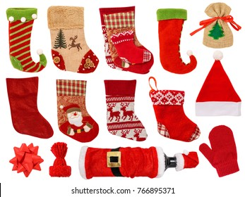 Christmas Stocking Isolated on White Background. Contains:different types of stocking, glove, bottle, sack, santa hat, bow.