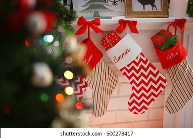 Christmas stocking on fireplace