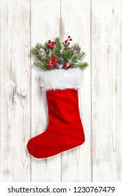 Christmas stocking red decoration on wooden background