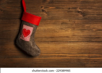 Christmas Stocking, Sock Hanging Over Grunge Wooden Background, Brown Wood Wall Xmas Decorative  Texture