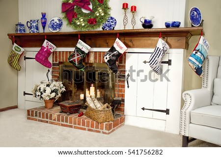 Christmas Stockings Hanging On Fireplace Personalized Stock Photo