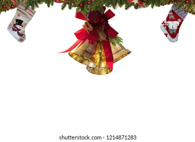 Christmas stockings,gold bells decorations,white background for greeting card space for text