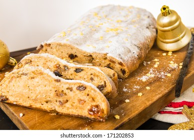 Christmas stollen sponge cake with icing sugar