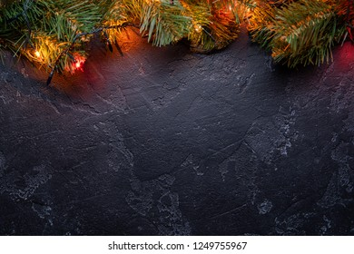 Christmas stone background with lights.