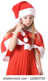 Christmas story. Girl thinking about gifts for Christmas