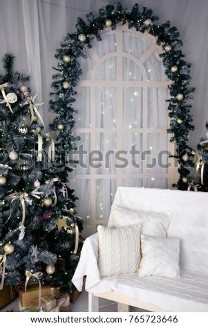 Christmas Studio Decoration Arc Bench Christmas Stock Photo (Edit ...