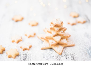 Christmas sugar star cookies on white background