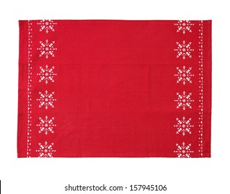 christmas table cloth isolated on white background with clipping path