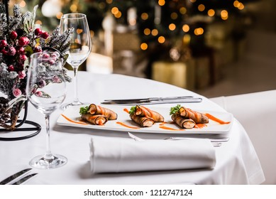 Christmas table with gourmet food