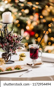 Christmas table with mulled wine