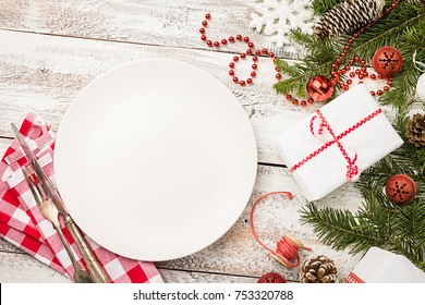 Christmas Table Place Setting With Festive Decorations. Holidays  Background, Top View With Copy Space
