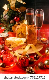 Christmas table placed a panettone