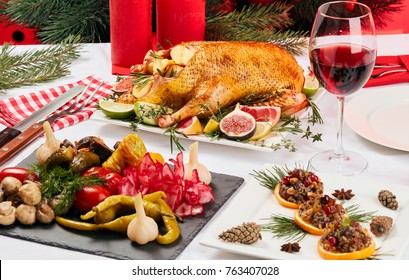 Christmas table with roast duck