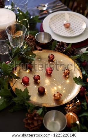 Christmas Table Setting Baubles On Golden Stock Photo Edit Now