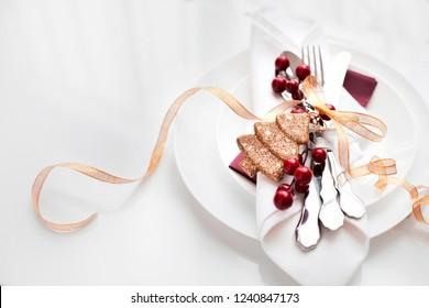 Christmas table setting. Holiday background