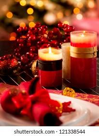 Christmas Table Setting. Holiday Decorations. Decor. New Year Celebration