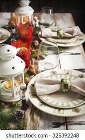 Christmas table setting. Holiday Decorations.