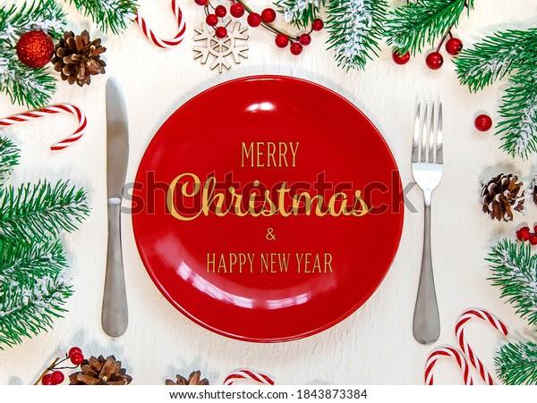 Christmas table setting. Holiday. Selective focus.